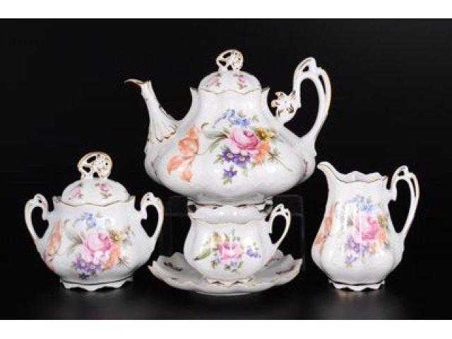 Чайный сервиз на 6 персон 15 предметов Полевой цветок Корона Queens Crown