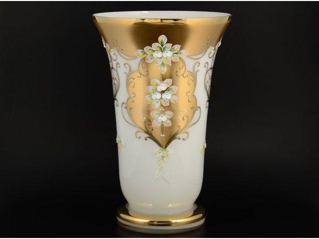 Ваза 40 см Лепка Белая S-A Богемия Кристал (Bohemia Crystal)