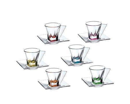 Набор чашек для эспрессо 70 мл цветные Fusion trends RCR Cristalleria Italiana