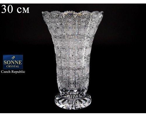 Ваза для цветов хрустальная Sonne Crystal широкая 30 см