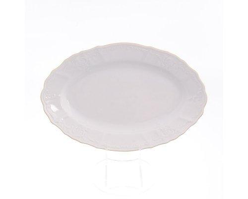 Блюдо овальное 26 см Бернадотт Белый узор