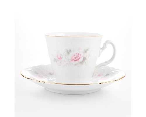Набор чайный пар ведерка 200 мл Бернадотт Серая роза золото (6 пар)