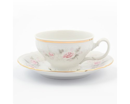 Набор чайный пар 220 мл Бернадотт Серая роза золото (6 пар)