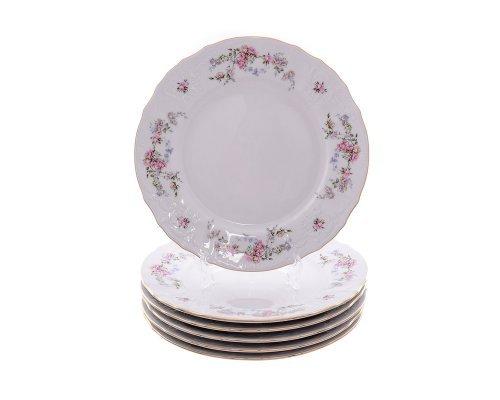 Набор тарелок 25 см Бернадотт Дикая роза золото (6 шт)