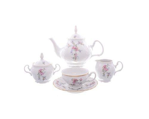 Чайный сервиз на 6 персон 17 предметов Бернадотт Дикая роза золото