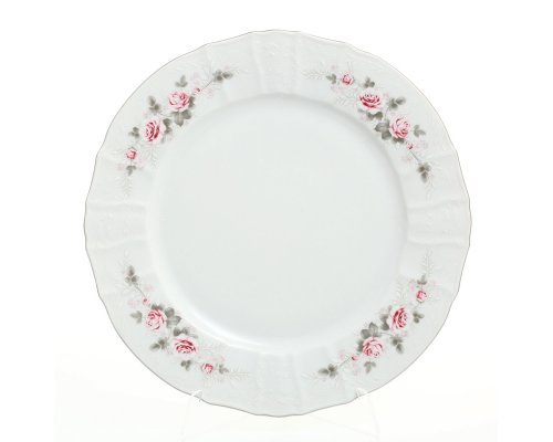 Блюдо круглое 30 см Бернадотт Серая роза платина