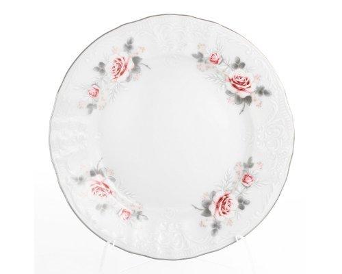 Набор тарелок 25 см Бернадотт Серая роза платина (6 шт)