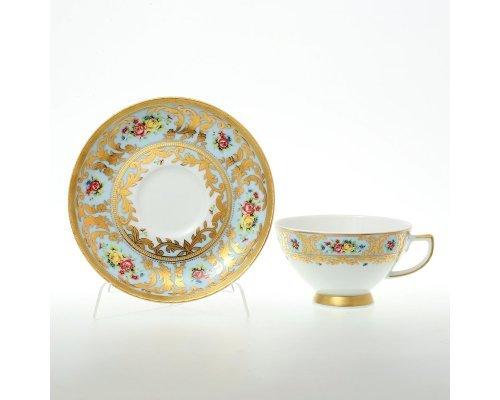 Набор чайных пар Vienna blu gold Falkenporzellan 220 мл на 6 персон