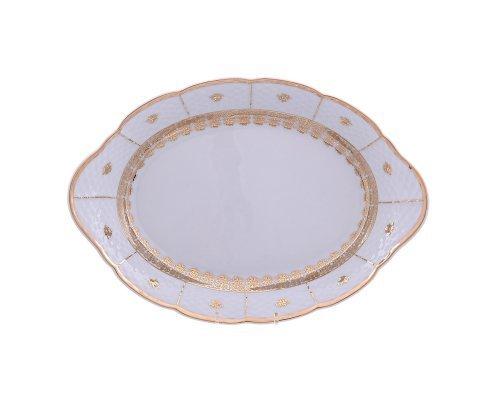 Блюдо для хлеба 33 см Тхун (Thun) Менуэт Золотой орнамент