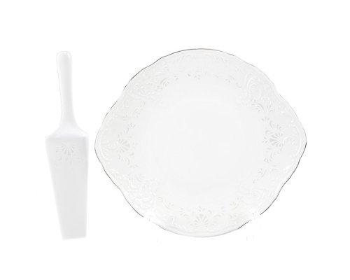 Тарелка для торта 27 см с лопаткой Бернадотт Платиновый узор