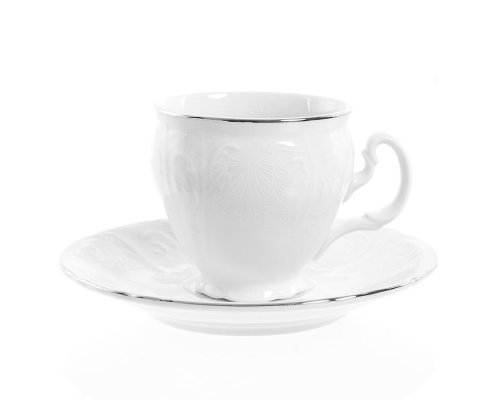 Набор кофейных пар бочка Платиновый узор Bernadotte 170 мл (6 пар)