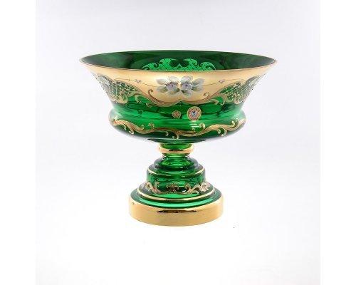 Фруктовница 26 см Bohemia (Богемия) Лепка Зеленая E-V