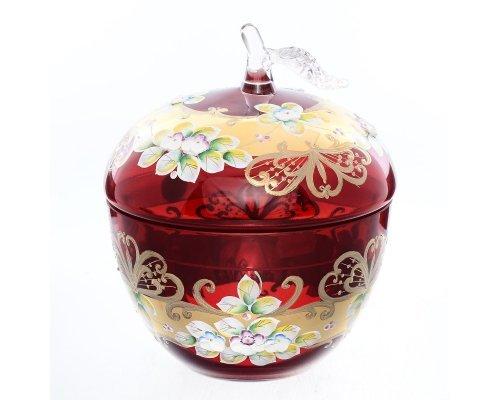 Конфетница с крышкой 16 см Bohemia (Богемия) Лепка Красная E-V