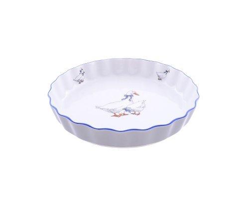 Блюдо круглое для запекания 21 см декор Гуси Тхун (Thun) жаропр. фарфор