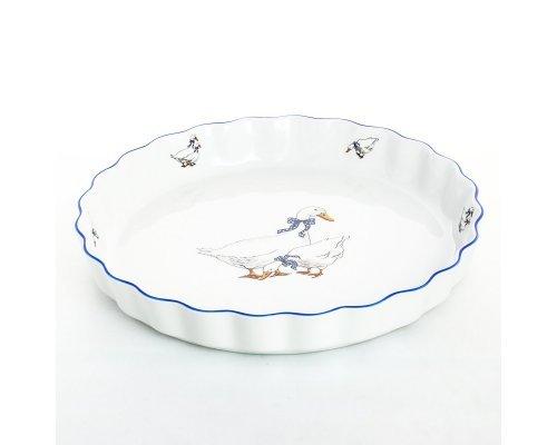 Блюдо круглое для запекания 30 см Гуси Тхун (Thun) жаропрочный фарфор