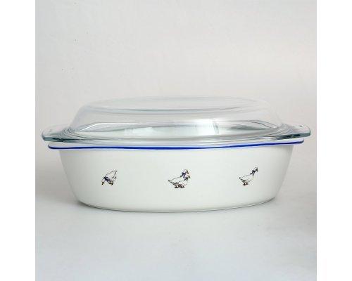 Блюдо овальное для запекания с крышкой 32 см Гуси Тхун (Thun) жаропрочный фарфор