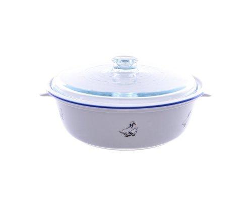 Блюдо круглое для запекания с крышкой 29 см Гуси Тхун (Thun) жаропрочный фарфор