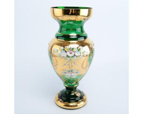 Ваза 30 см Bohemia (Богемия) Лепка Зеленая E-V