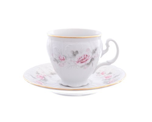 Набор кофейных пар 170 мл Бернадотт Серая роза золото (6 пар)