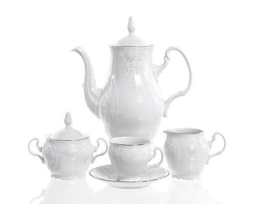Кофейный сервиз на 6 персон 17 предметов Бернадотт Платиновый узор