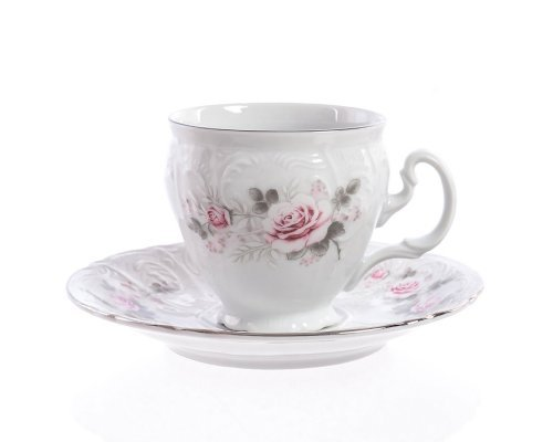 Набор кофейных пар 170 мл Бернадотт Серая роза платина (6 пар)