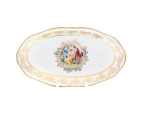 Блюдо овальное 25 см Мадонна перламутр Корона Queens Crown
