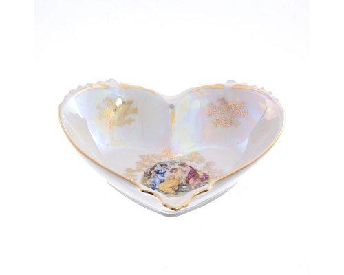 Конфетница сердце 15 см Мадонна перламутр Корона Queens Crown
