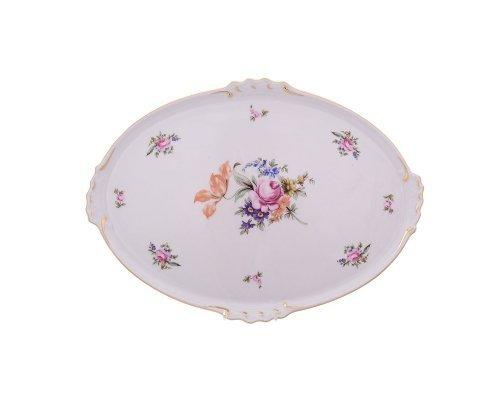 Блюдо овальное 37 см Полевой цветок Корона Queens Crown с волнистыми ручками