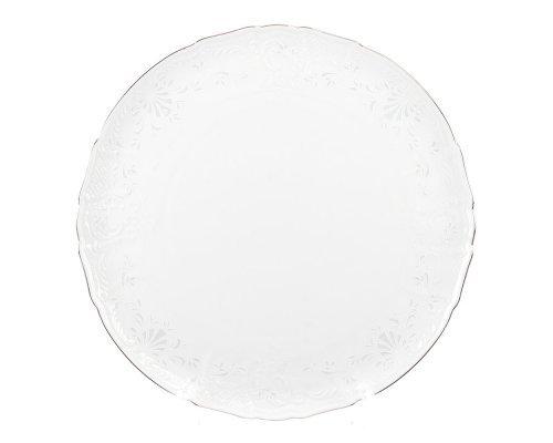 Тарелка для торта 32 см Бернадотт Платиновый узор
