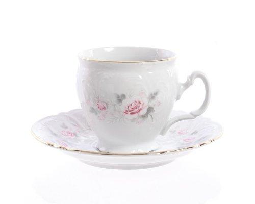 Набор чайный пар бочка 240 мл Бернадотт Серая роза золото (6 пар)