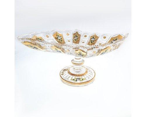 Фруктовница 45 см на ножке Max Crystal Золото Bohemia (Богемия)