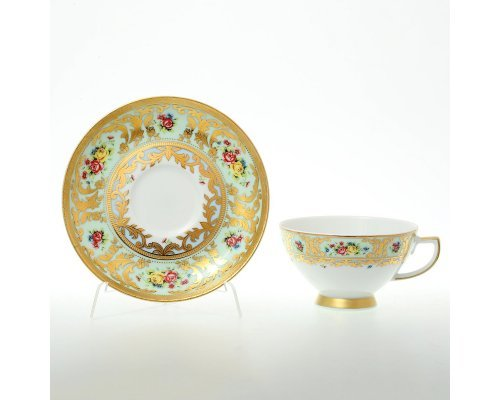 Набор чайных пар (6 пар) Vienna seladon gold Falkenporzellan (Фалкенпоцеллан)