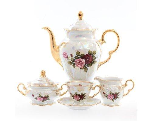 Кофейный сервиз на 6 персон 17 предметов Фредерика Роза перламутр