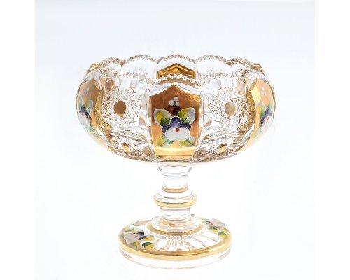Конфетница 13 см на ножке Max Crystal Золото Bohemia (Богемия)
