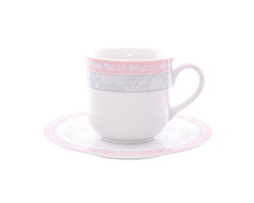 Набор чайных пар 220 мл Тхун (Thun) Яна Серый мрамор с розовым кантом (6 пар)