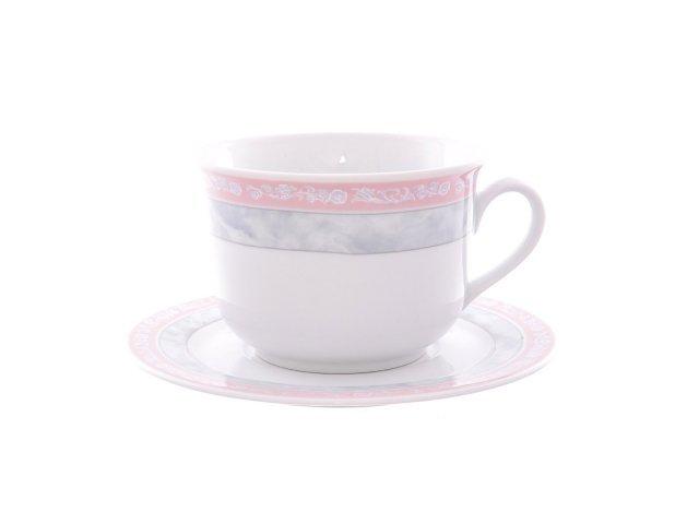 Набор чайных пар 380 мл Тхун (Thun) Яна Серый мрамор с розовым кантом (6 пар)