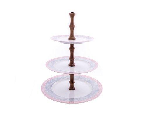 Этажерка (Горка) 3 яруса Тхун (Thun) Яна Серый мрамор с розовым кантом