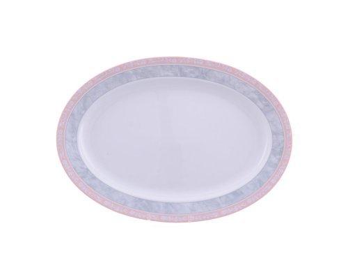 Блюдо овальное 32 см Тхун (Thun) Яна Серый мрамор с розовым кантом