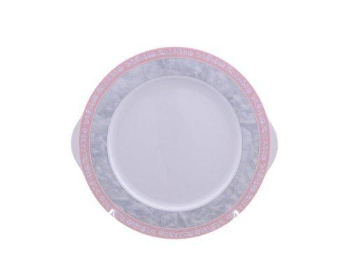 Тарелка для торта 27 см Тхун (Thun) Яна Серый мрамор с розовым кантом