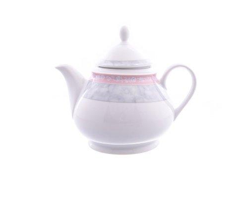 Чайник 1,2 л Тхун (Thun) Яна Серый мрамор с розовым кантом