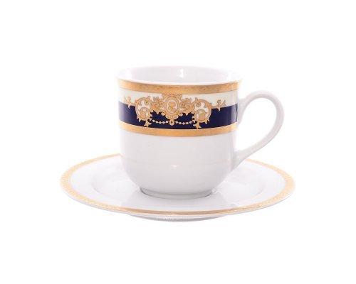 Набор чайных пар 230 мл Тхун (Thun) Яна Кобальтовая лента (6 пар)