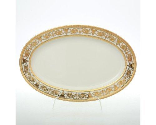 Блюдо овальное 24 см Falkenporzellan Constanza Cream Imperial Gold