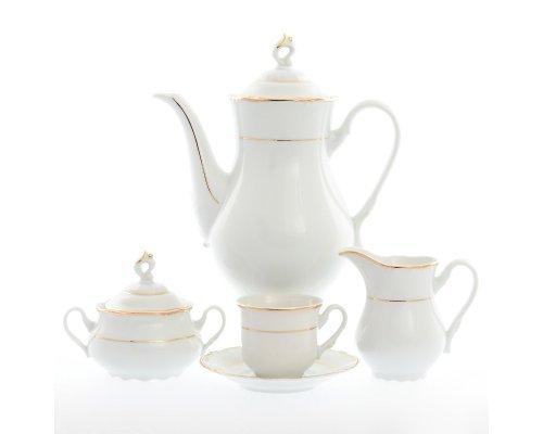 Кофейный сервиз на 6 персон 17 предметов Тхун (Thun) Констанция Отводка золото