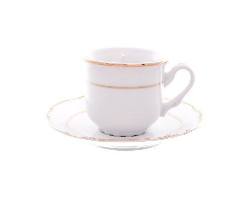 Набор кофейных пар Thun Констанция Отводка золото 160 мл (6 пар)