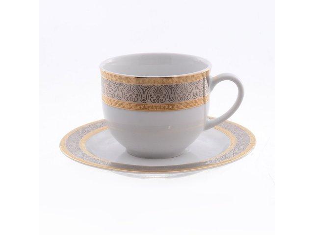 Набор кофейных пар Thun Опал Широкий кант платина золото 165 мл (6 пар)