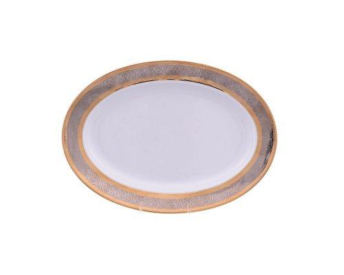 Блюдо овальное 24 см Тхун (Thun) Опал Широкий кант платина золото