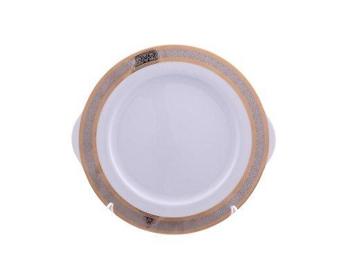Тарелка для торта 27 см Тхун (Thun) Опал Широкий кант платина золото