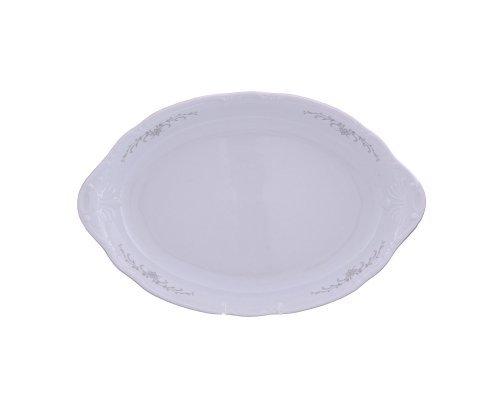Блюдо для хлеба 33 см Тхун (Thun) Констанция Серый орнамент Отводка платина