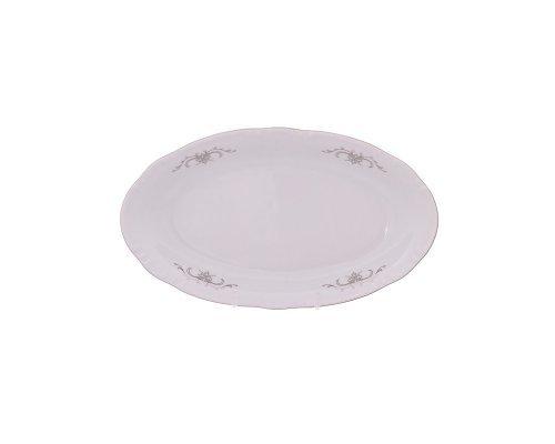 Блюдо овальное 21 см Тхун (Thun) Констанция Серый орнамент Отводка платина