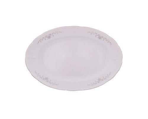 Блюдо овальное 32 см Тхун (Thun) Констанция Серый орнамент Отводка платина